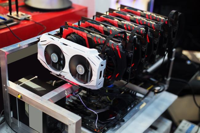 Multiple GPUs inside a Bitcoin-mining rig.