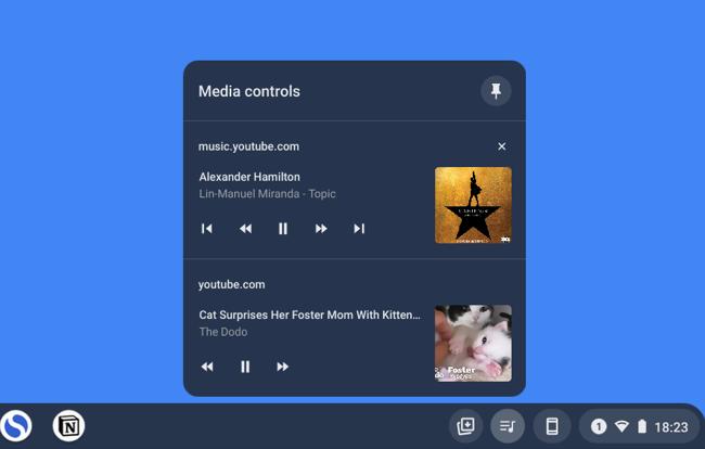 Access music controls from Chromebook Shelf