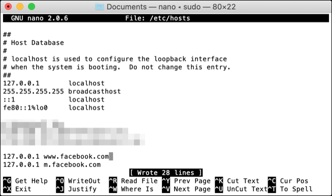 Edit Hosts File with nano on macOS