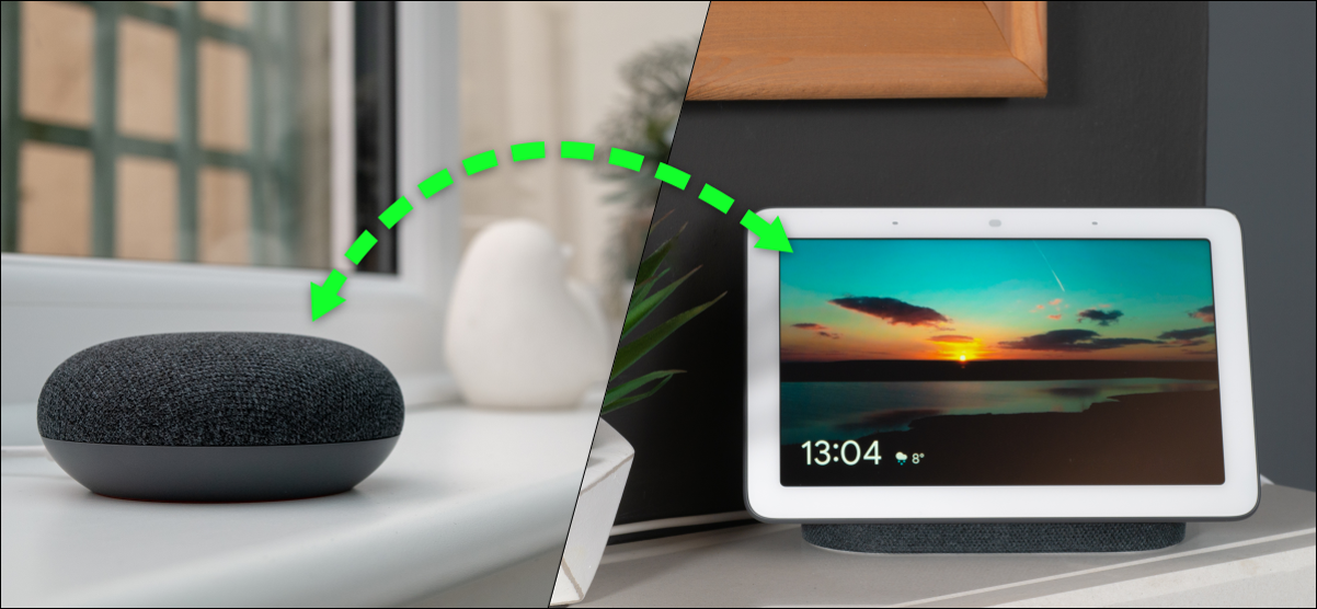a google speaker and a smart display