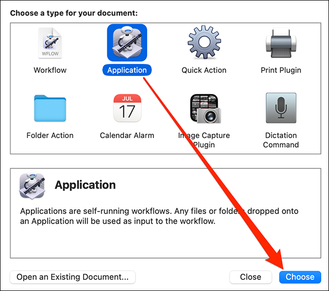 """Select """"Application"""" and click """"Choose"""" in Automator."""
