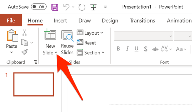 """Click the arrow next to """"New Slide"""" on the PowerPoint window."""