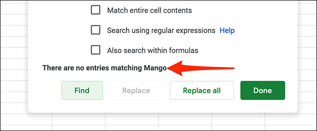 An example of no results for the searched query in Google Sheets.