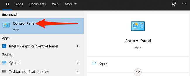 """Искать """"Панель управления"""" в меню Пуск Windows 10."""