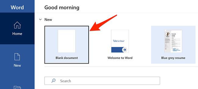 """Выбирать """"Пустой документ"""" в Microsoft Word."""