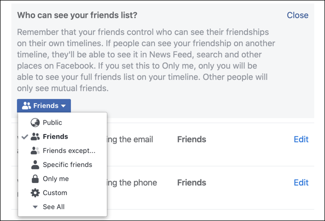 Make your Facebook friends list private