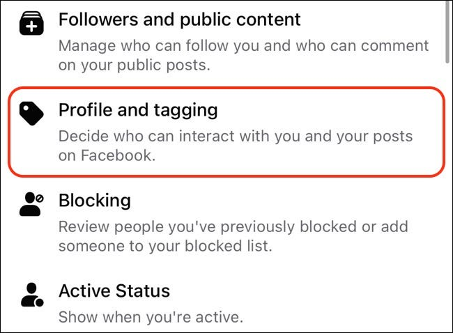 Access Facebook Profile & Tagging Settings on Mobile