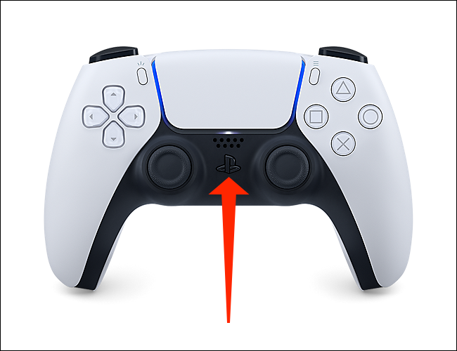 The PlayStation button on the DualSense controller