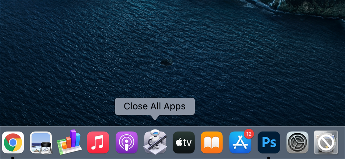"""The """"Close All Apps"""" app highlighted on a Mac's Dock."""