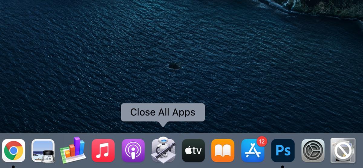 """В """"Закройте все приложения"""" выделено на док-станции Mac."""