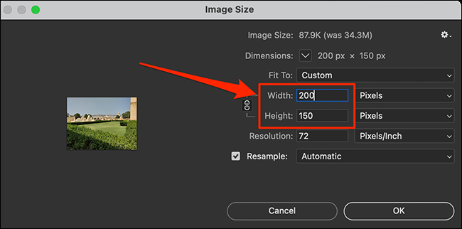 """Resize a photo on the """"Image Size"""" window in Photoshop."""
