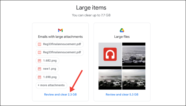 View and delete large items on Google storage