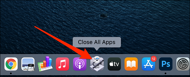 """The """"Close All Apps"""" app on a Mac's Dock."""