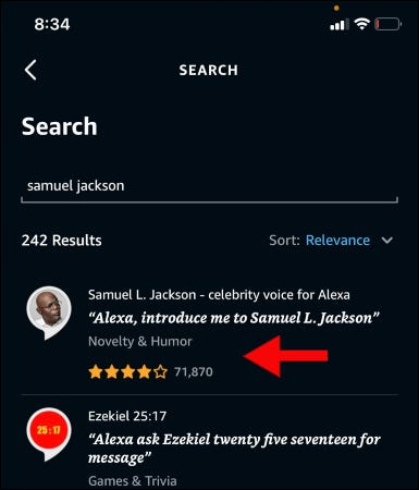 Searching for Samuel Jackson's voice in the Alexa app.
