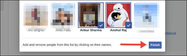 Save updated restricted list on Facebook