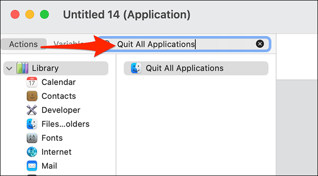 """Search """"Quit All Applications"""" in Automator's Actions list."""