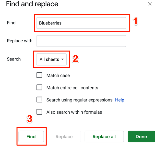 """The """"Find and Replace"""" window in Google Sheets."""