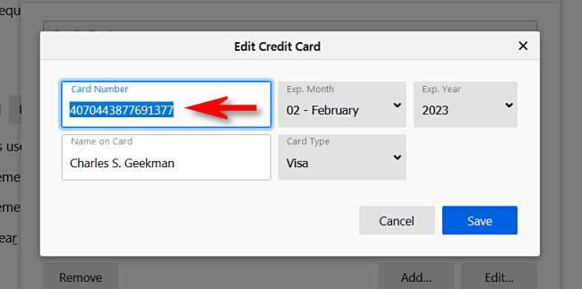 """в """"Изменить кредитную карту"""" в окне вы увидите полный номер кредитной карты."""