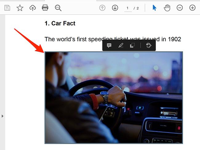 Chọn hình ảnh để trích xuất từ PDF trong cửa sổ Acrobat Reader.