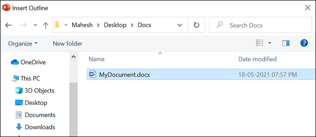 Select the Word document to convert to PowerPoint.