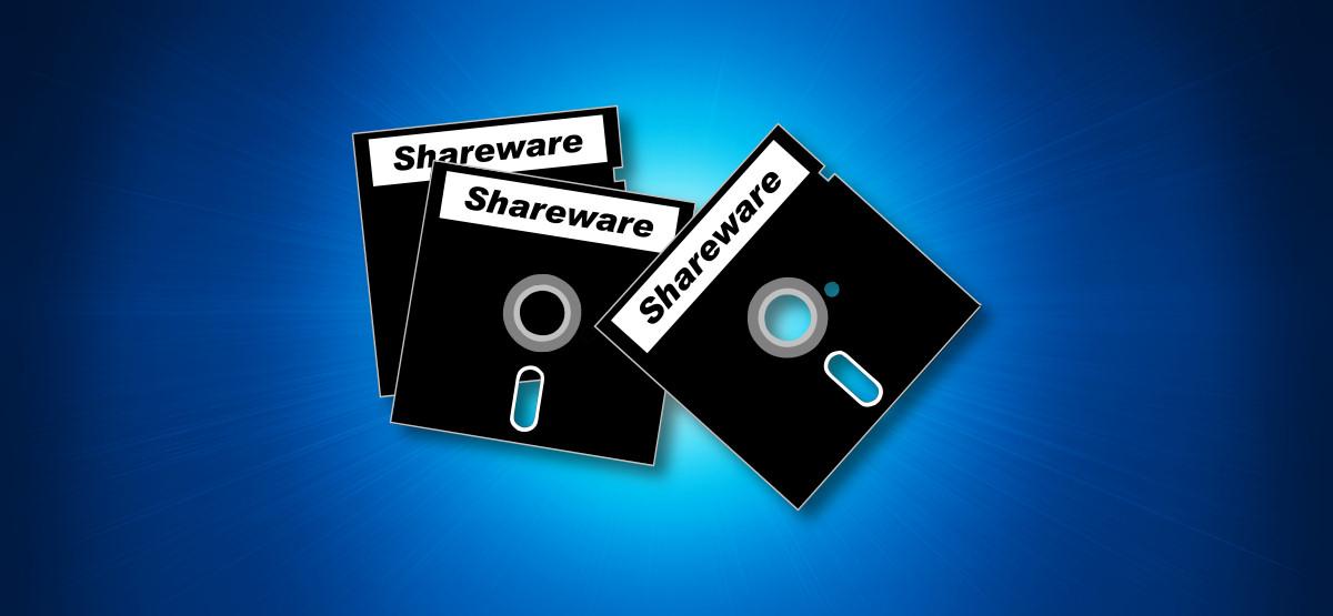 An illustration of shareware disks on a blue background.
