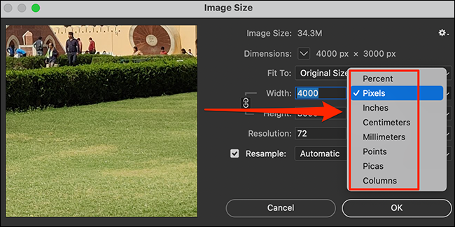 """Select a size unit on the """"Image Size"""" window in Photoshop."""