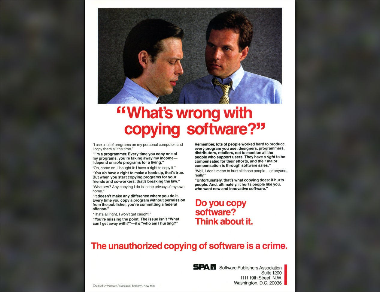 A 1984 anti-piracy ad from the Software Publishers Association.