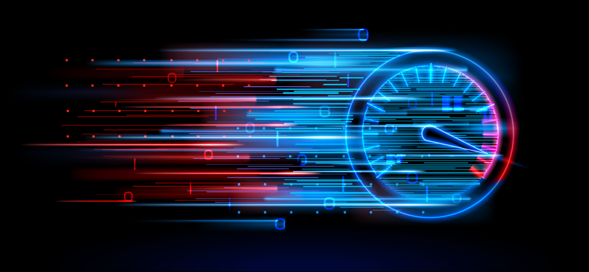An abstract illustration of a digital speedometer representing internet download speed.