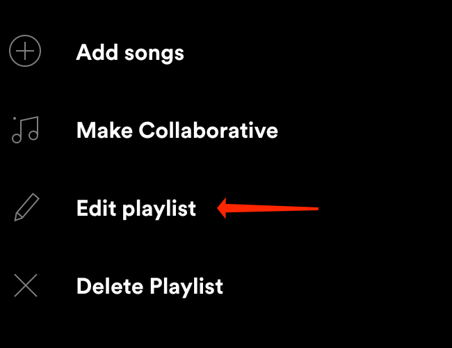 """Tap """"Edit Playlist"""" to change playlist picture in Spotify for Android."""