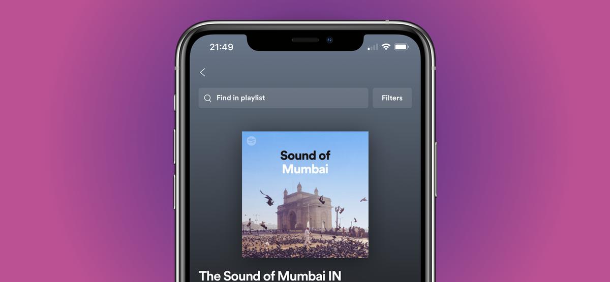"""Плейлист Spotify на iPhone с """"Найти в плейлисте"""" вариант, показанный на экране."""