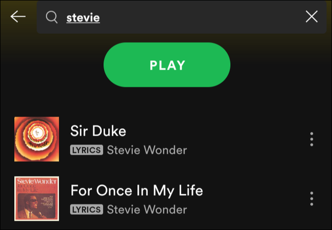 If you type the name of the artist in the search box, Spotify shows you all the songs by that artist in your playlist.