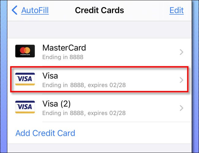 Tap a credit card in the list to examine it in detail.