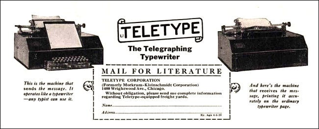 Extract from a 1929 Teletype ad
