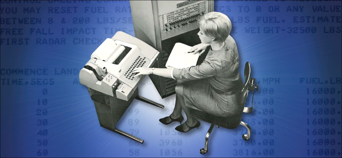 A woman who used a telephone type in the late 1960s.