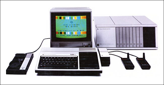 A TI-99/4A system photo from the back of the US retail box.