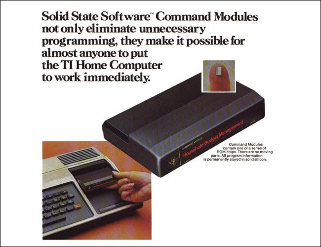 Information on Command Modules from a 1979 TI-99/4 brochure.
