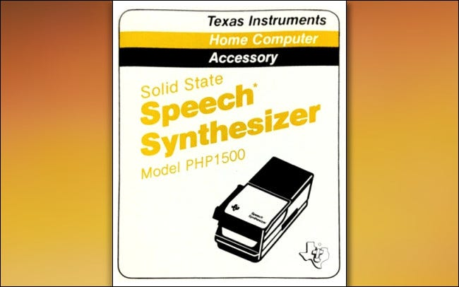 The TI-99/4A Speech Synthesizer Manual Cover