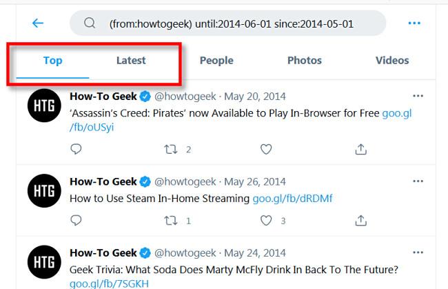 """Вы можете отсортировать результаты поиска в Twitter по """"Вершина"""" или же """"Последний."""""""