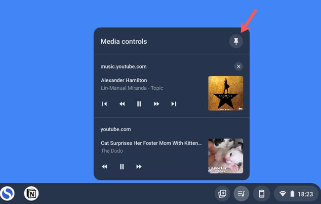 Unpin music controls from Chromebook Shelf