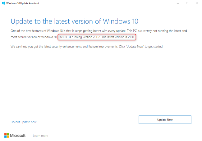 The Windows 10 Update Assistant showing an upgrade to 21H1.