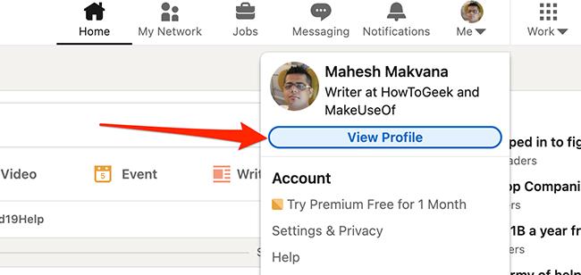 """Нажмите """"Просмотреть профиль"""" на сайте LinkedIn."""