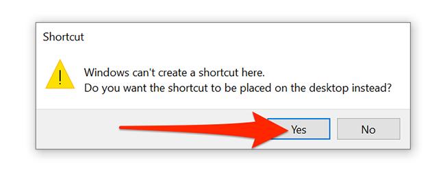 """Выбирать """"да"""" в запросе создания ярлыка VPN в Windows 10."""