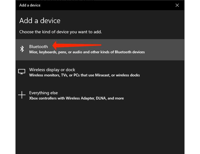 Щелкните Bluetooth, чтобы подключить устройство Bluetooth к ПК с Windows 10.