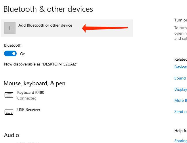 Нажмите Добавить Bluetooth и другие устройства, чтобы подключить устройство Bluetooth к компьютеру с Windows 10.