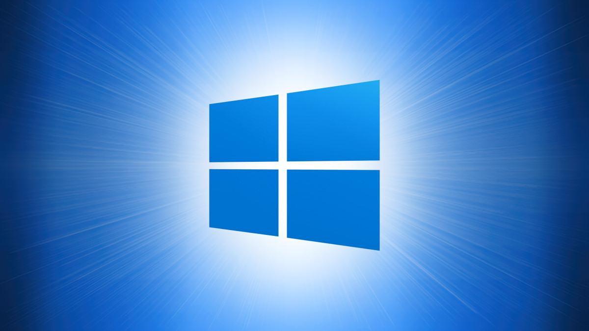 Logo di Windows 10 su sfondo blu