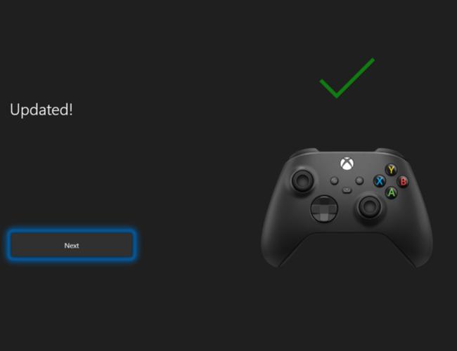 Нажмите Далее, чтобы завершить процесс обновления программного обеспечения беспроводного геймпада Xbox.