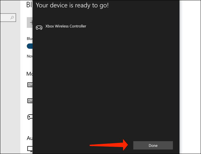 Нажмите Готово, чтобы завершить сопряжение беспроводного геймпада Xbox с ПК в Windows 10.