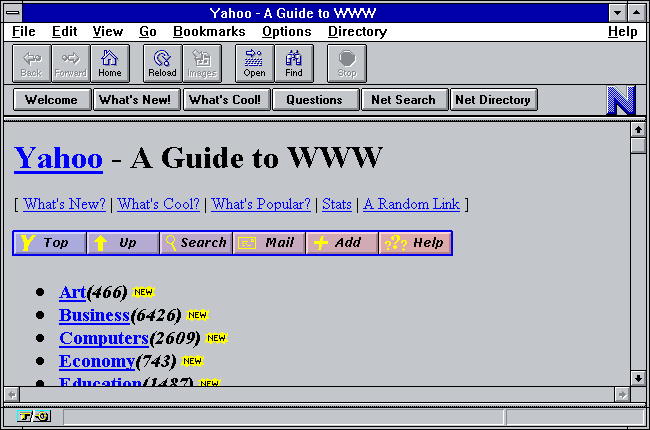 Netscape Navigator showing a Yahoo web page from about 1994.