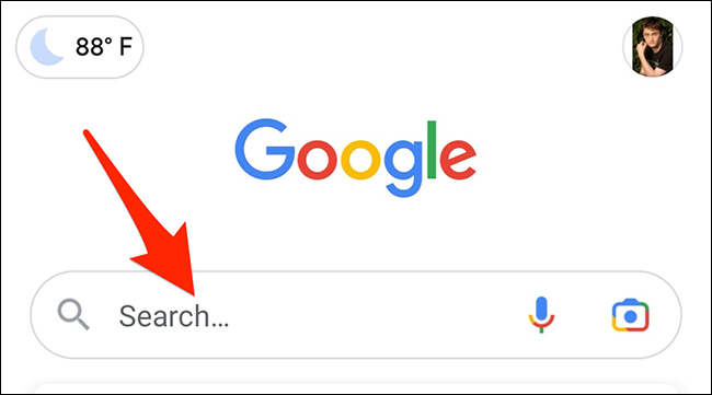 Tap the search box in the Google app.