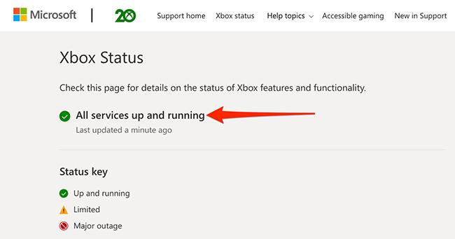 Trang web Trạng thái Xbox.